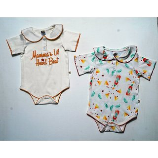 Messy Munchkins Baby Cotton Off White Printed Solid Romper Set