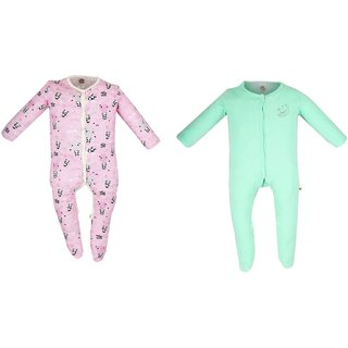 Messy Munchkins Baby Cotton Pink Printed Green Solid Sleep Suit set