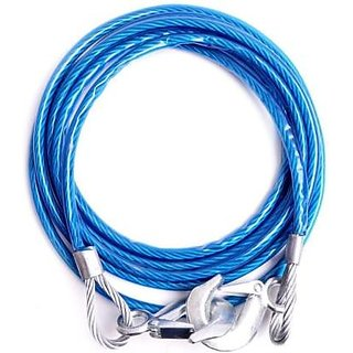 Car Tow Rope Blue Heavy Duty Safety Cable for Cars Buses Trucks (Stainless Steel, 5000 kg Pulling Capacity)