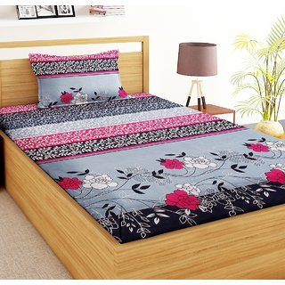 Home Berry Multicolor Polycotton Single Bedsheet With 1 Pillow Covers