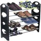 IBS Simple Standing Home Organizer Stackable Shoe Rack Pplasttic, Steel Collapsible  4 Shelves