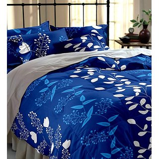 BSB Trendz Polycotton Double Bedsheet With 2 Pillow Covers 90x100 Inches Pillow 17x27 180 Tc 3D