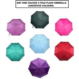 Plain-Mono Colour 3-Fold Umbrella (1pc)- Assorted Colours