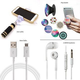 Shutterbugs Mini Selfie Combo with Pop Socket Data Cable and Handsfree for smartphones