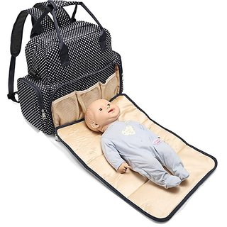 Baby Essentials Black waterproof diaper bag for mom for travel with detachable nappy changing pad with free fashionable
