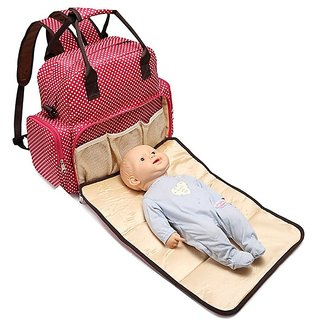 Baby Essentials Red waterproof diaper bag for mom for travel with detachable nappy changing pad with free fashionable