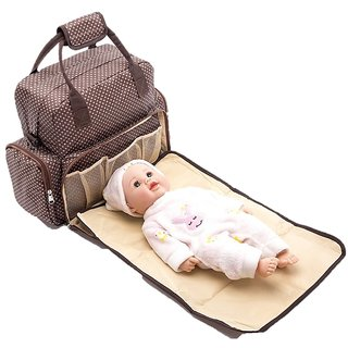Baby Essentials Brown waterproof diaper bag for mom for travel with detachable nappy changing pad with free fashionable