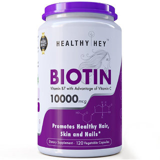 Healthyhey Nutrition Biotin Maximum Strength 10000 Mcg + Vitamin C - 120 Vegetable Capsules