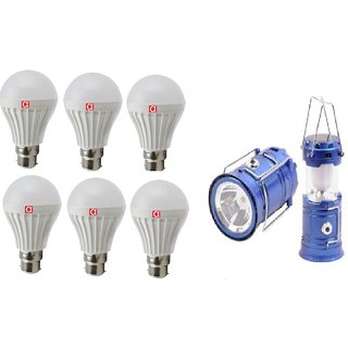 Alpha 7 Watt Pack of 6 Bulb (one year replacement warrant) With Free Solar Rechargeable Lantern