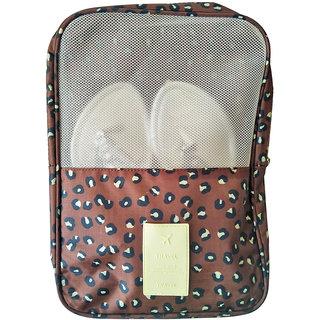 Mosh Brown Leopard Print Travel Shoes Bag Luggage Organizer