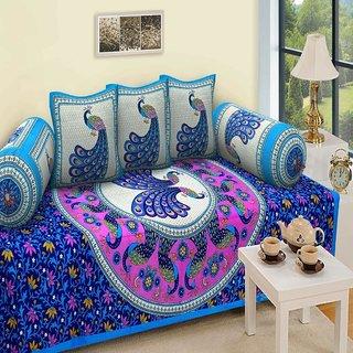 Modern Fab Jaipuri Style 100% Cotton Rajasthani Tradition set of 6 Piece Cotton 1 Single Diwan Set, 3 Cushion Cover...