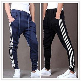 ToYouth Stylish Men's Black Navy Blue Cotton Blend Sports Track Pant Pack Of 2
