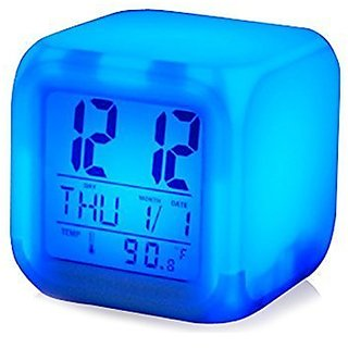 7 Color Changing Clock Cube Desk Night Table Alarm Clock Glowing Digital Alarm Clock LED Watch