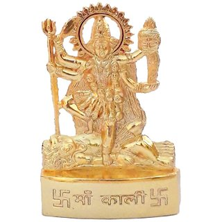 Gifts Decor Zinc Gold Plated Goddess Maa Kali Idol for Temple, Car, Office (7 cm x 4.5 cm x 1 cm, Gold)
