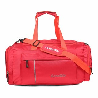 Satellite Leader Multi Pocket Heavy Duty Travel Bags | Duffle Bag Organizer I Gym Bag for Men & Women Huge Capacity with Shoe Compartment (Red)