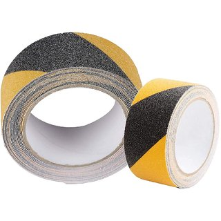 DIY Crafts Anti Slip/Skid Tape Size Good Grip Friction Safety Tapes Slippery Floors Staircase Ramps Indoor Outdoor, Traction Tape Hazard Warning Safety Walls Floors Pipes Equipment (5x100mm) (Black Yellow) 1 Pack