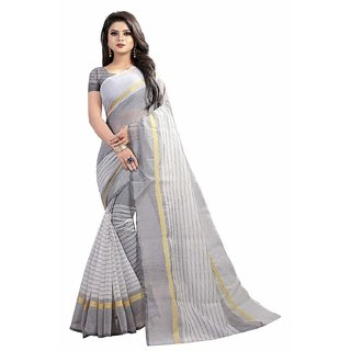 Pari Designerr Multi Color Striped PolyCotton Saree With Blouse