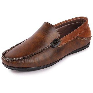Fausto Men's Brown Party Loafers Casual Shoes