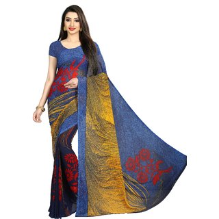 Anand Sarees Blue Color Faux Georgette Saree With Unstitched Blue Color Blouse Piece ( 1475 )
