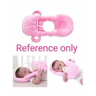 HomeStore-YEP 2 in 1 Velevt Stuff Baby Feeder with Neck Pillow Supporter for Kids (Age 0-6 Months, Color Pink)