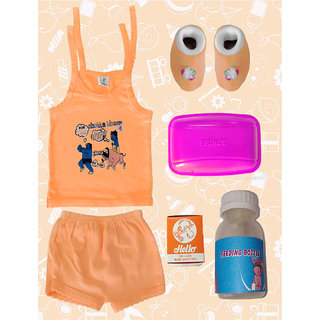 Born Baby Gold Kit 5 in 1 (Baby Suit, Feeding Bottle, Baby Booties, Soap box, and Baby Soother).