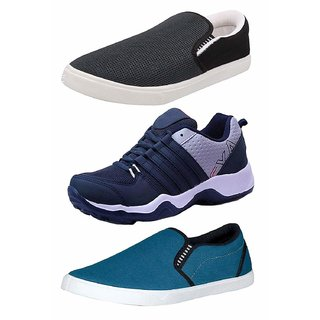 Chevit Men's Combo Pack of 3 Grey , Blue Casual Shoes And Blue Sports Shoes (Loafers And Running Shoes) TR98445143