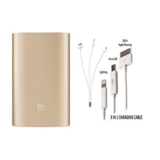 DMP Mi 10400 MAH Power Bank  Gold Colour With 3 In 1 Usb Charger