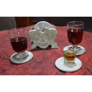 Artist Haat Hand Crafted Natural Soapstone Joined Elephant Shaped Coasters.