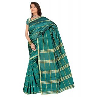 DEVKI FASHIONS RS0101 Women 6.1 Polycotton Green Printed saree