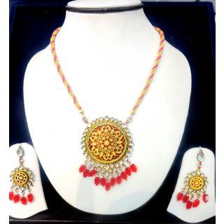 Rajsthani Thewa Pendants Set Yellow And Red For Women
