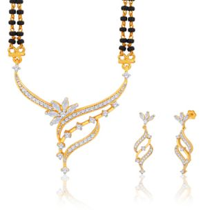 Peora 18 Karat Gold And Rhodium Plated Mangalsutra Set With Swiss Cubic Zirconia (Design 3)