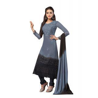 Lineysha Boutique Georgette, Crepe, Chiffon Self Salwar Suit Dupatta Material  Unstitched