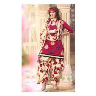 Magnum Opus Store Maroon Color Chanderi Cotton Straight Cut Suit.