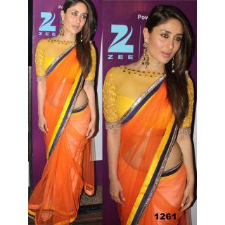 Bollywood Saree,partywear Saree Kareena Kapoor Orange Bollywood Replica Saree