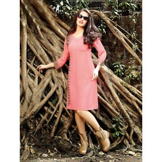 Trendy Western Designer Kurti Tunic Tops With Pretty Embroidery Work