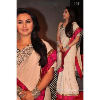 Bollywood Replica - Rani-Mukherjee- White & Red Lace Saree