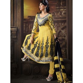 Georgette Thread Work Yellow Semi Stitched Long Anarkali Suit (STY-146-2003 B)