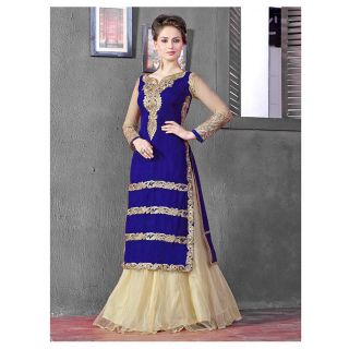 Thankar Latest Designer Heavy Blue And Cream Embroidery Indo Western Style Strai