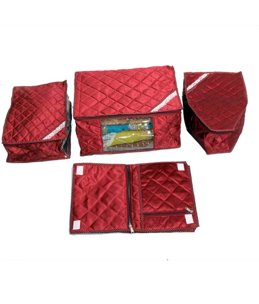 Kuber Industries Saree Cover, Blouse Cover, Peticot Cover   Lingerie Cover In Maroon Satin 4 Pcs Combo