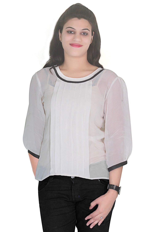 Selfi Self Design White Casual Top For Women