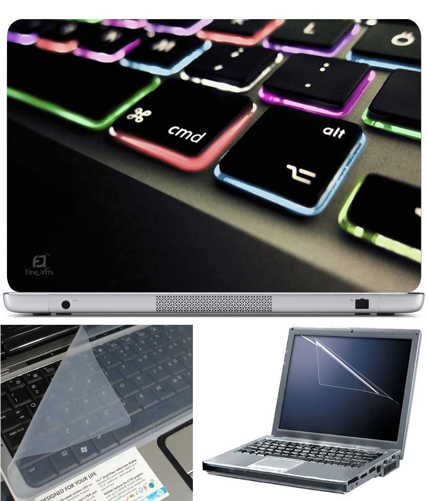 Finearts Laptop Skin Keyboard Color Led With Screen Guard And Key Protector   Size 15.6 Inch
