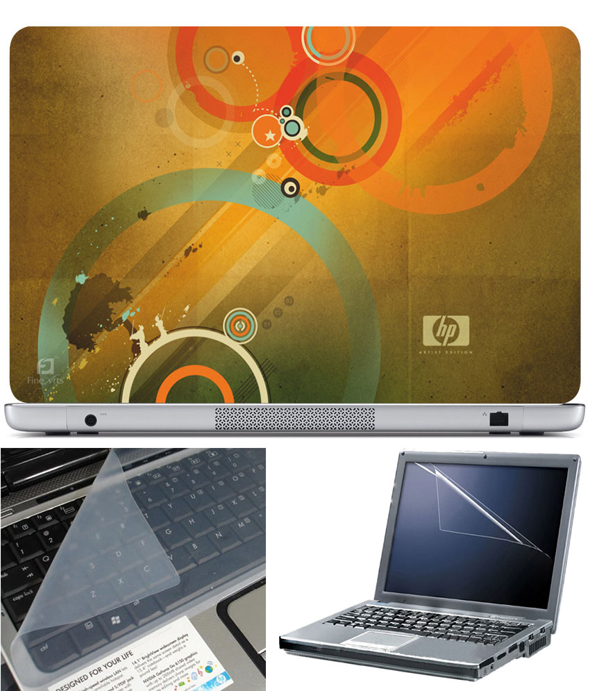 Finearts Laptop Skin 15.6 Inch With Key Guard   Screen Protector   Hp Circle Orange