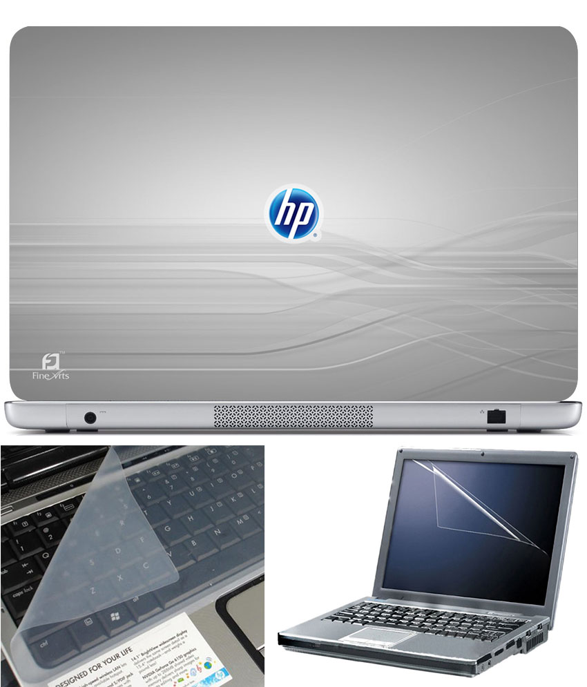 Finearts Laptop Skin 15.6 Inch With Key Guard   Screen Protector   Hp On Grey