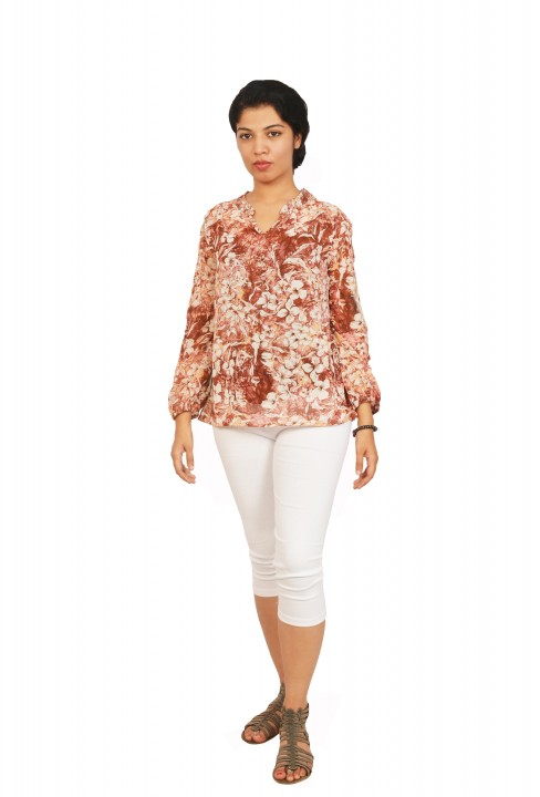 Isadora Casual Full Sleeve Floral Print Women's Top