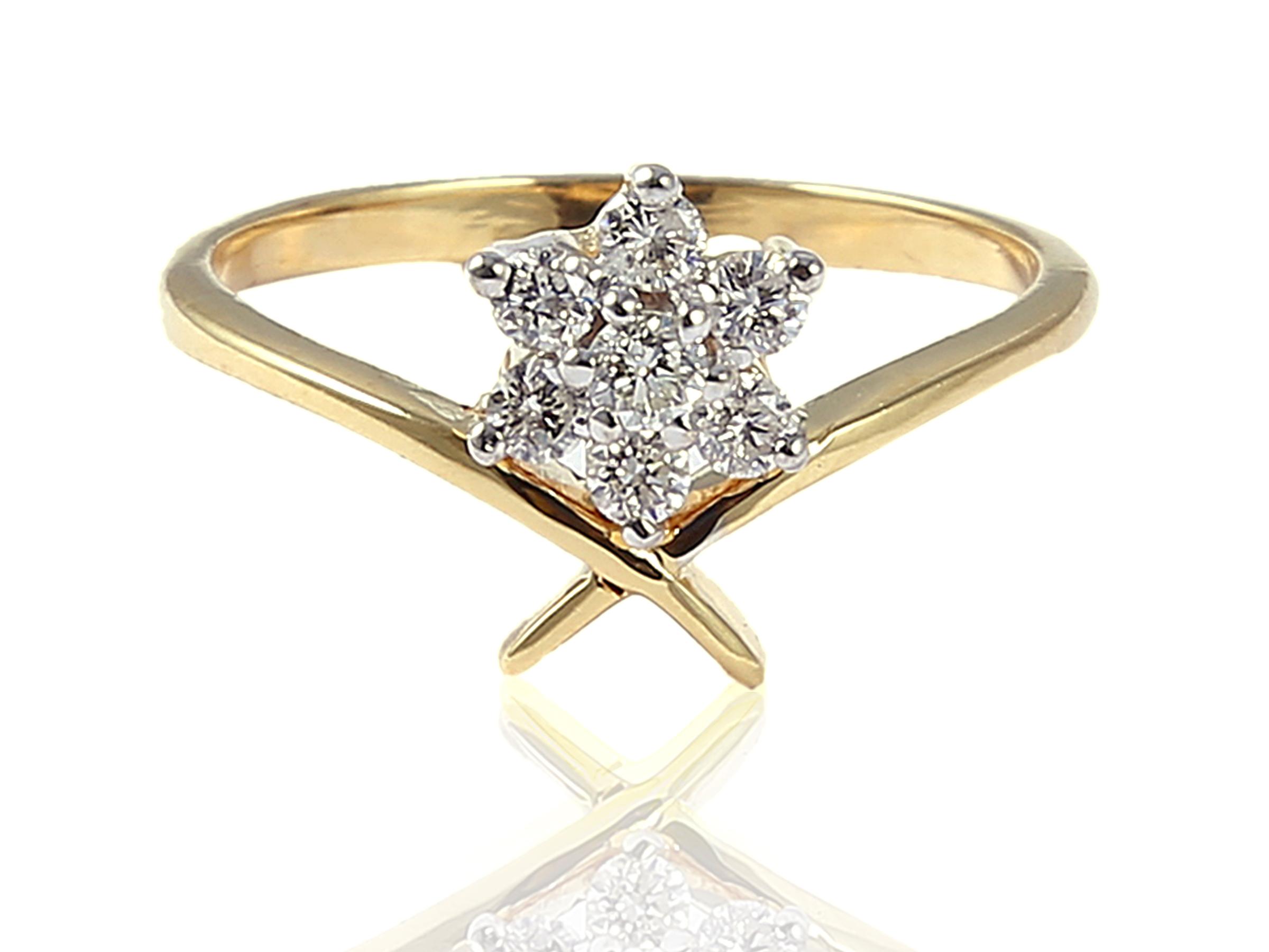 Diamond Ring In Solid BIS Hallmark 18KT Yellow Gold  LR 473 F