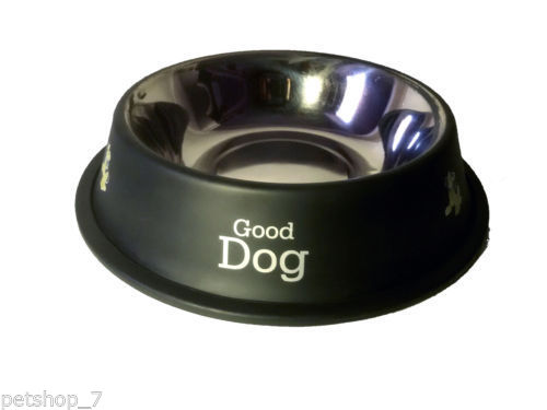 stainless steel stylish dog food bowl   BLACK 600 ML
