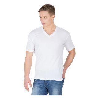 Hypernation White Color V Neck T Shirts For Men