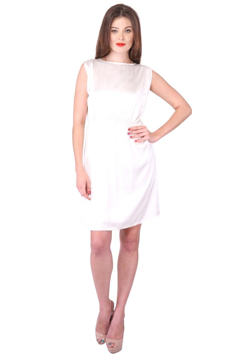 Purys White Plain A Line Dress For Women