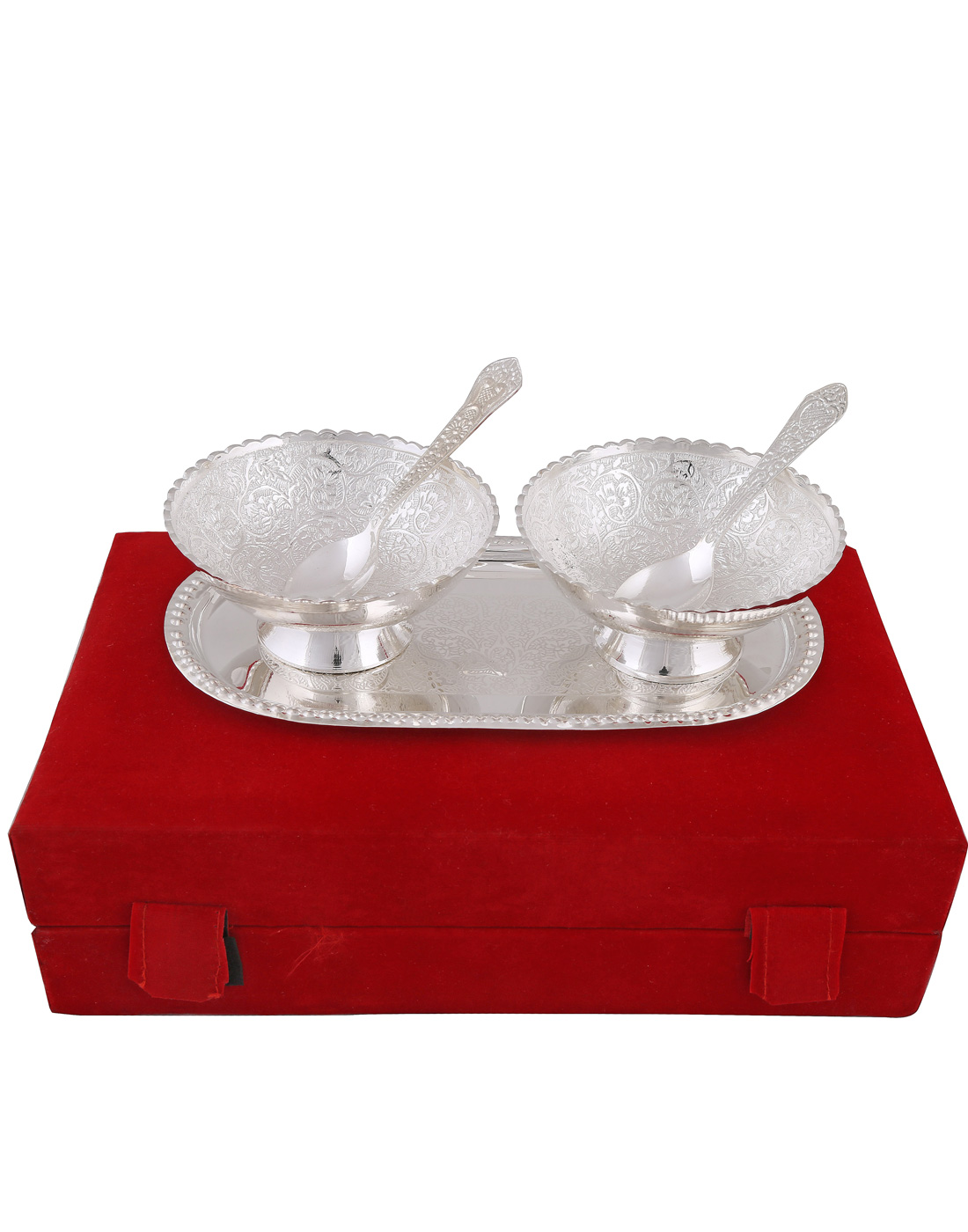 BrassValue Silver Plated 2 Brass Bowls   Spoon Set With Tray
