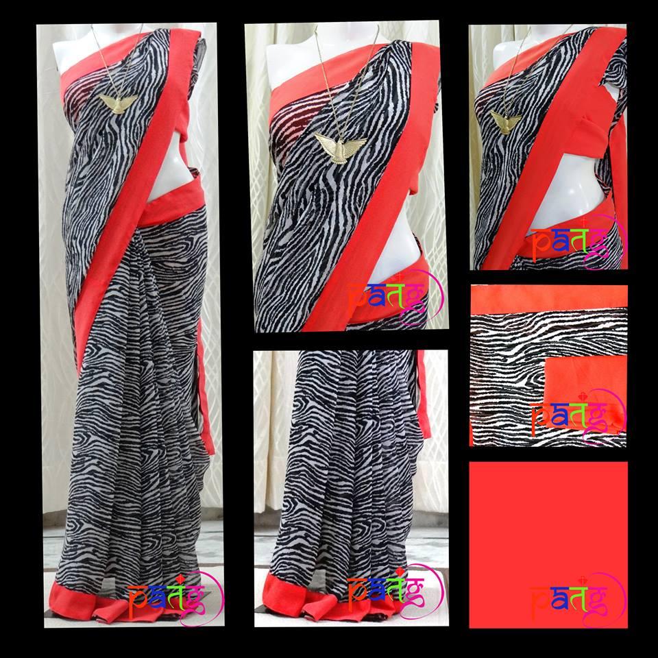 Black and Coral Animal Print Sari